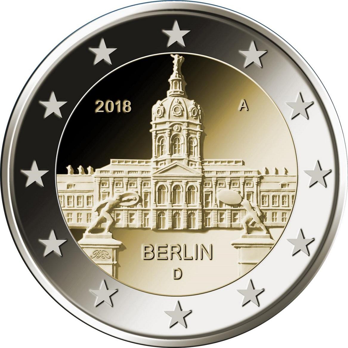 moneta 2 euro castello di charlottenburg