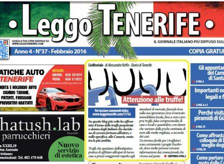 """Articolo su """"truffe e falsi amici"""" in prima pagina su """"Leggo Tenerife"""" di Febbraio!"""