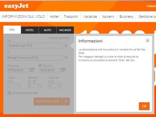 Da oggi viene meno il volo diretto Roma-Tenerife con EasyJet