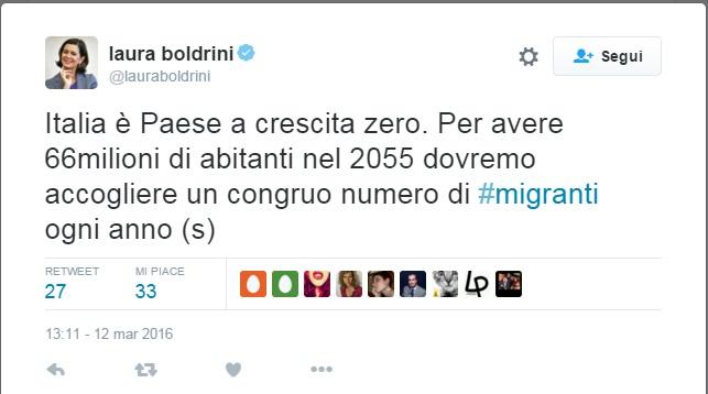 tweet boldrini migranti