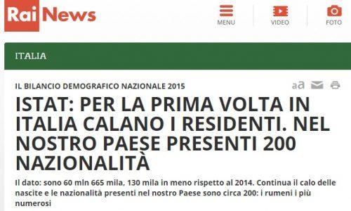 Istat: popolazione residente in Italia in calo
