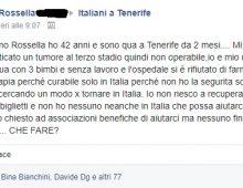 """""""Senza soldi a Tenerife con 3 figli e ho un tumore"""" il grido d'aiuto di una famiglia italiana"""
