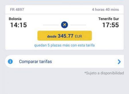 Il prezzo dei biglietti Italia-Tenerife è aumentato sensibilmente