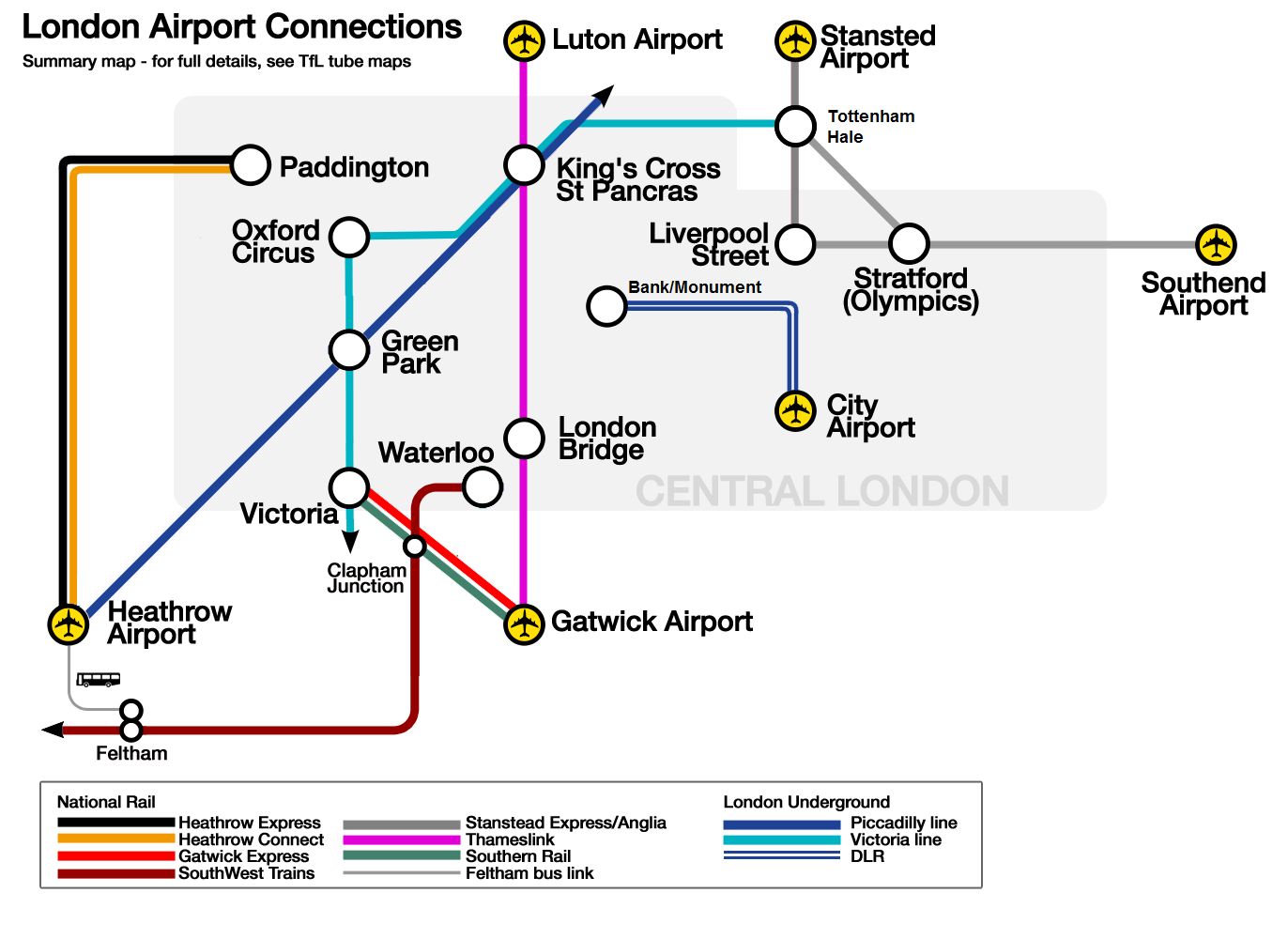 """London airport links map"" by Cnbrb - Own work. Licensed under CC BY-SA 3.0 via Wikimedia Commons."
