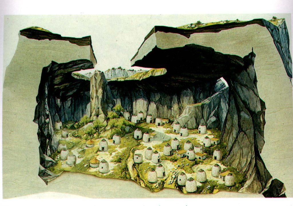 Ricostruzione del villaggio nuragico all'interno della dolina