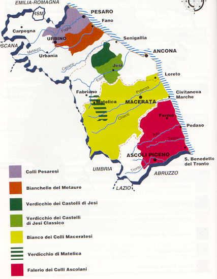 come abbinare vini marchigiani a 3 menù di primavera - mappa Marche vini