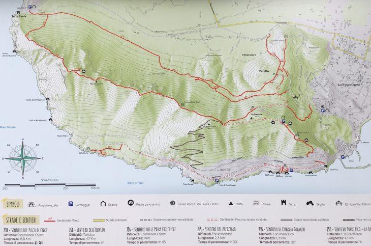 Mappa dei sentieri del Parco del Circeo
