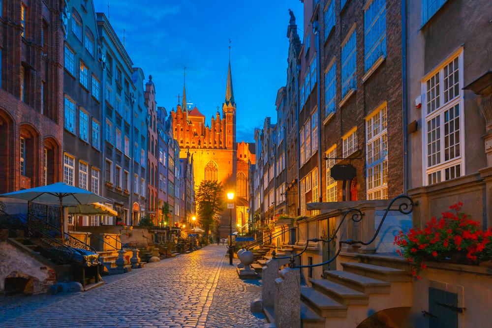 Danzica centro storico di sera