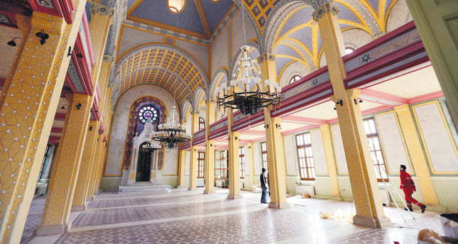 Workers put the final touches during the restoration of the Great Synagogue in Edirne