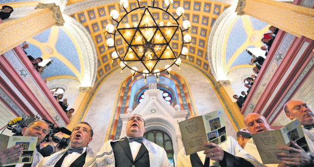 Jewish community members attend the re-opening ceremony of Great Synagogue in Edirne