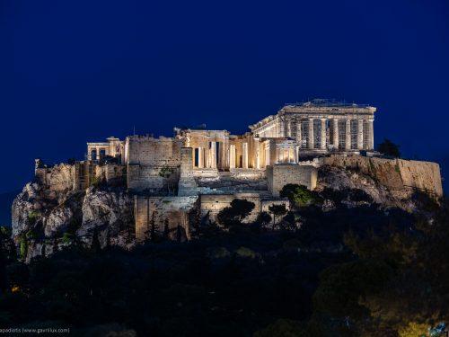 Atene e l'acropoli illuminata con arte