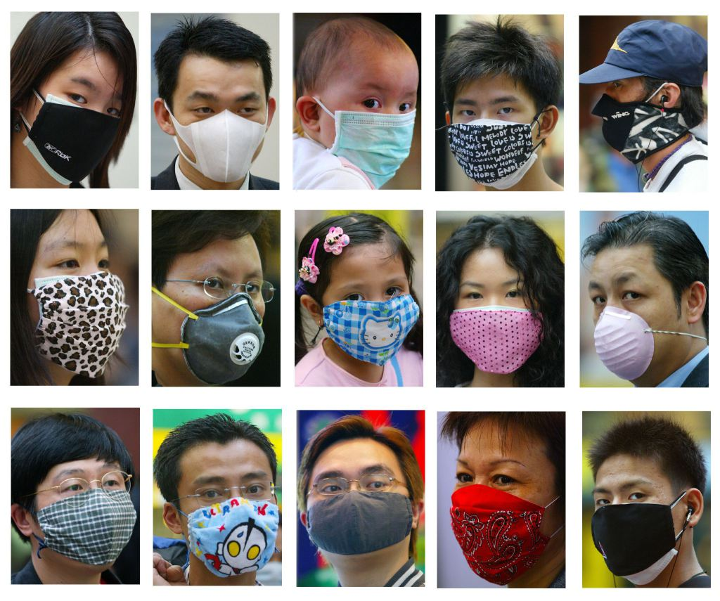 COMBO SHOWING FASHIONABLE MASKS WORN BY HONG KONG PEOPLE AGAINST SARS.
