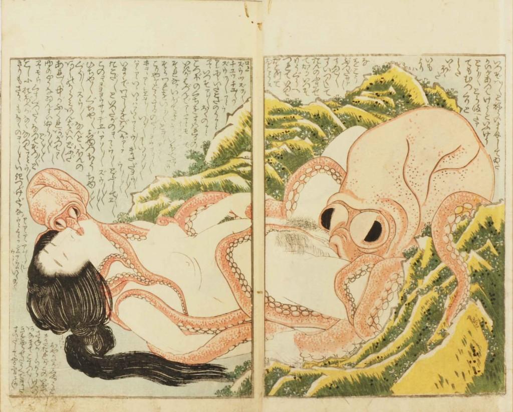 Il Sogno della Moglie del Pescatore (Kinoe no komatsu 喜能会之故真通 pittura su legno, 1820)